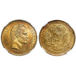 Venezuela, gold (100 bolivares), 1886, NGC AU 58.
