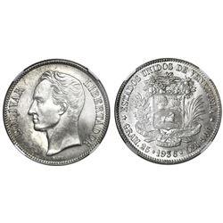 Venezuela, (5 bolivares), 1936, normal date, NGC MS 64.