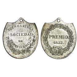 Buenos Aires, Argentina, silver award medal (shield-shaped), 1833, Charity Society.