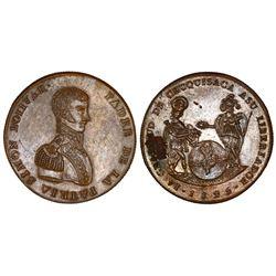 Potosi, Bolivia, bronze medal, 1825, Chuquisaca, NGC UNC details / tooled, rev. corrosion.