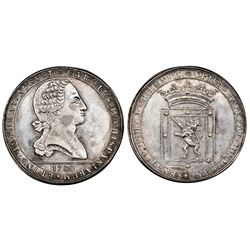 Chile, silver proclamation medal, Charles IV, 1789, coin axis, accession of the king in Santiago, NG
