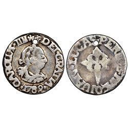 Santiago de Las Vegas, Cuba, cast silver 4R-sized proclamation medal, Charles IV, 1789, very rare, N