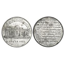 Santiago, Cuba, large white-metal medal, 1859, Eastern Department Commander General Don Carlos de Va