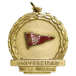 Havana, Cuba, 10K gold medal, University of Havana, ca. 1940s.