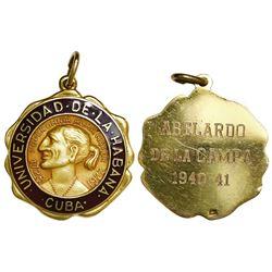Havana, Cuba, 10-karat gold medal, University of Havana, ca. 1940-41.