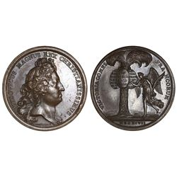 Paris, France, bronze medal, Louis XIV, 1697, by J. Mauger, victories at Barcelona (Spain), Ath (Fla