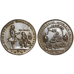 Great Britain, copper-alloy Admiral Vernon medal, 1739, Porto Bello, Vernon and Lezo, ex-Adams.