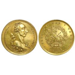 Manila, Philippines (under Spain), large gilt-bronze medal, Charles III, merit award (Premio del Val
