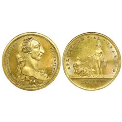Manila, Philippines (under Spain), large gilt-bronze medal, Charles III, labor award (Aplicacion al