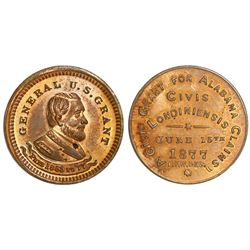 USA, small copper trade token, 1877, General U.S. Grant.