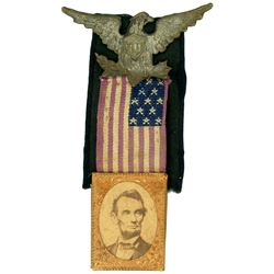 USA, Abraham Lincoln gem albumen mourning badge, 1865.