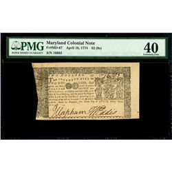 Annapolis, Maryland, $2, 10-4-1774, serial 16003, PMG XF 40.
