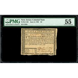 New Jersey, $3, June 9, 1780, serial 2255, PMG AU 55.