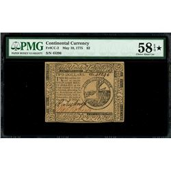 United Colonies, Continental Congress, $2, May 10, 1775, serial 45296, PMG Choice AU 58 EPQ Star, fi