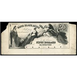 Proctorsville, Vermont, Bank of Black River, $50 front proof, 18XX (mid 1800s), rare.