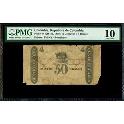Colombia, 50 centavos / 4 reales remainder, no date (1819), PMG VG 10, rare.