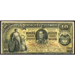 Bogota, Colombia, Banco Nacional, 10 pesos, 4-3-1895, series A, serial 245085.
