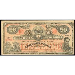 Bogota, Colombia, Banco Nacional, 50 pesos, 30-9-1900, series B, serial 94290.