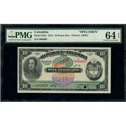 Bogota, Colombia, Republica de Colombia, 10 pesos oro specimen, 20-7-1915, series D, PMG Choice UNC