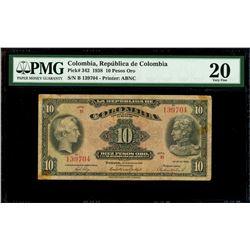 Bogota, Colombia, Republica de Colombia, 10 pesos oro, 22-3-1938, series B, serial 139704, PMG VF 20