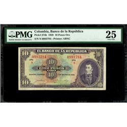 Bogota, Colombia, Banco de la Republica, 10 pesos oro, 1-1-1928, series N, serial 0993784, PMG VF 25