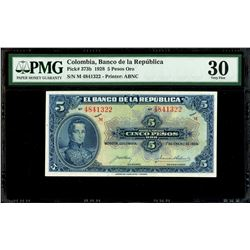 Bogota, Colombia, Banco de la Republica, 5 pesos oro, 1-1-1928, series M, serial 4841322, PMG VF 30.