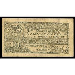 Barranquilla, Colombia, Banco de Barranquilla, 10 centavos, 3-9-1900, series R, serial 293021.