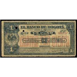 Bogota, Colombia, Banco de Bogota, 1 peso, 1-10-1919, series X, serial 006737.