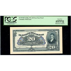 Manizales, Colombia, Banco de Caldas, 20 pesos front proof, 191X (1919-22), PCGS Gem New 65PPQ.