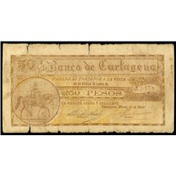 Cartagena, Colombia, Banco de Cartagena, 50 pesos, 10-3-1900, serial 42478.