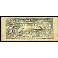 Cartagena, Colombia, Banco de Cartagena, 5 pesos, 10-3-1900, series B, serial 27557.