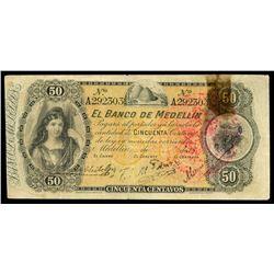 Medellin, Colombia, Banco de Medellin, 50 centavos remainder, no date (1895), serial A292303.