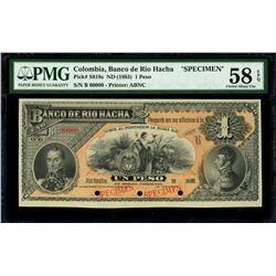 Rio Hacha, Colombia, Banco de Rio Hacha, 1 peso specimen, 188X (1885), series B, PMG Choice AU 58 EP