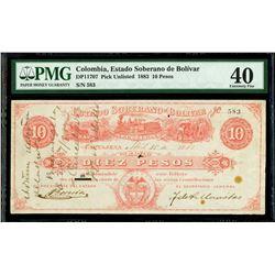 Cartagena, Colombia, Estado Soberano de Bolivar, 10 pesos, 15-4-1883, serial 583, PMG XF 40, finest