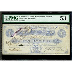 Cartagena, Colombia, Estado Soberano de Bolivar, 1 peso, 15-4-1883, serial 7350, PMG AU 53, very rar