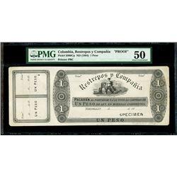 Medellin, Colombia, Restrepos y Compania, specimen 1 peso, 18XX (1874), PMG AU 50, very rare.