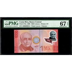 Costa Rica, Banco Central, 1000 colones, 2009, series A, serial A000000014, very low serial number,