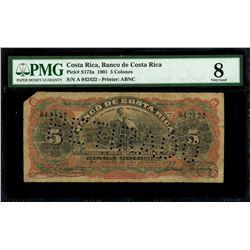 San Jose, Costa Rica, Banco de Costa Rica, 5 colones, 1-1-1901, series A, serial 042422, PMG VG 8, f