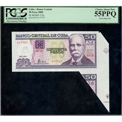 Cuba, Banco Central, 50 pesos, 2008, serial BH-20 517787, fold over error, PCGS Choice About New 55