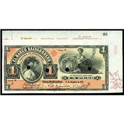 San Salvador, El Salvador, Banco Salvadoreno, 1 peso specimen, 1-10-1915, series E.