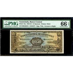 Guatemala, Banco Central, 50 centavos de quetzal, 21-8-1942, serial B0103231 / 2104277, PMG Gem UNC