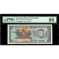 Guatemala, Banco de Guatemala, 5 quetzales, 5-1-1955, serial C000066, very low serial number, PMG Ch