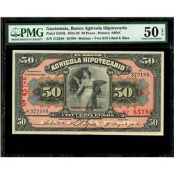 Guatemala, Banco Agricola Hipotecario, 50 pesos, 4-2-1926, serial 372186 / 65786, Caja Reguladora re