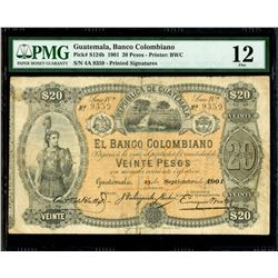 Guatemala, Banco Colombiano, 20 pesos, 25-9-1901, series IVa, serial 9359, black serial numbers, pri