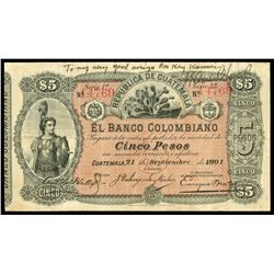 Guatemala, Banco Colombiano, 5 pesos, 21-9-1901, series 1a, serial 14769, red serial numbers, printe