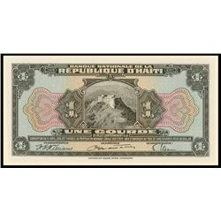 Haiti, Banque Nationale de la Republique, 1 gourde front and back proofs, 1919 (1946-50).