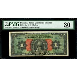 "Panama, Banco Central de Emision, 1 balboa, series of 1941, serial 034527, ""Arias"" note, PMG VF 30."