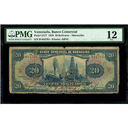 Maracaibo, Venezuela, Banco Comercial de Maracaibo, 20 bolivares, 9-3-1929, series B, serial 044784,