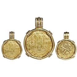 Lima, Peru, cob 8 escudos, 1712M, ex-1715 Fleet, mounted pillars-side out in 18K gold bezel with dia