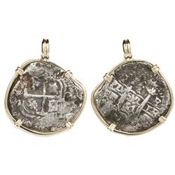 Potosi, Bolivia, cob 1 real, 1664E, ex-Consolacion (1681), mounted cross-side out in 14K gold bezel.